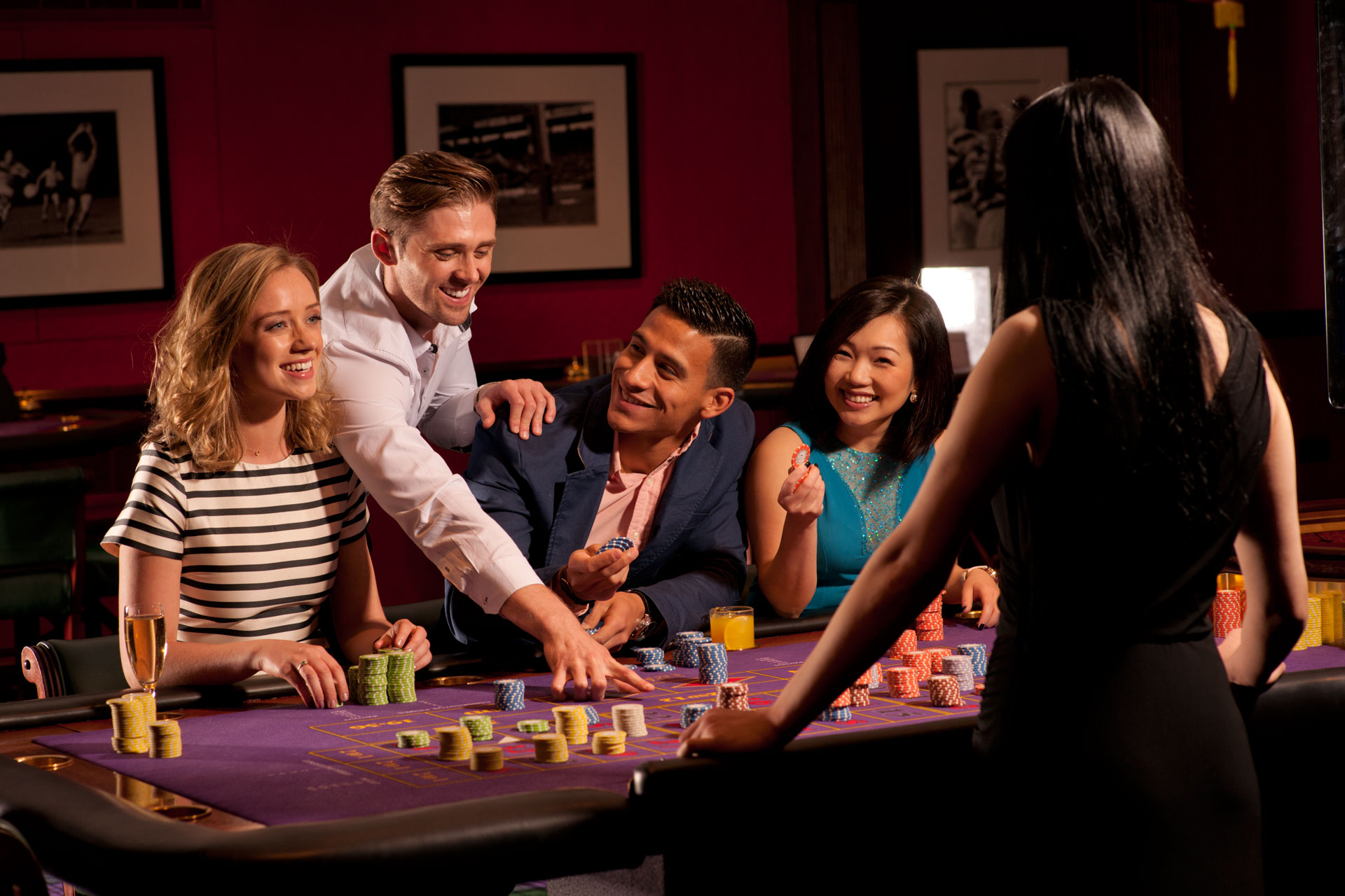 Players having fun at Roulette table
